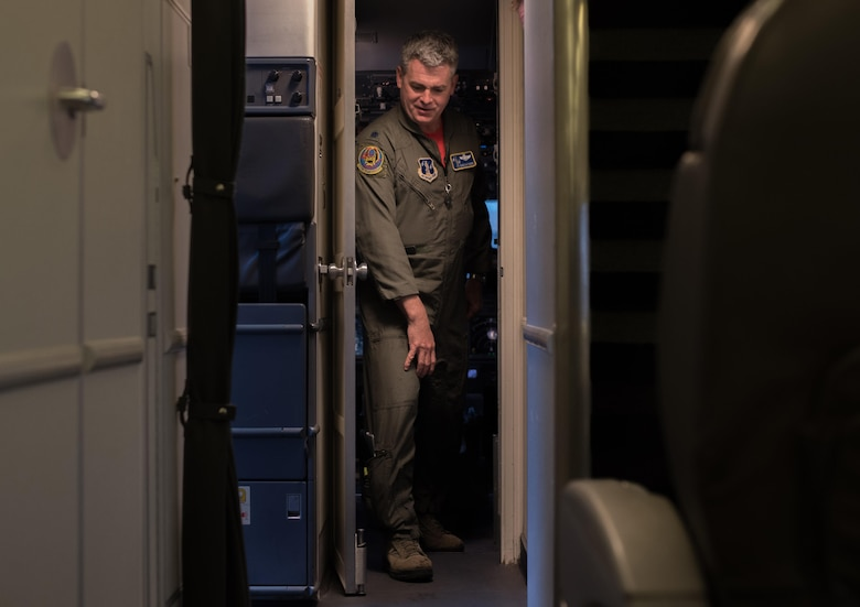 Lt. Col. David Matthews, 201st Airlift Squadron C-40 Clipper pilot, leaves the aircraft cockpit at Joint Base Andrews, Md., March 31, 2017. The squadron supports worldwide transportation for the Executive Branch, Congressional Members, Department of Defense officials and high-ranking U.S. foreign dignitaries. (U.S. Air Force photo by Senior Airman Jordyn Fetter)