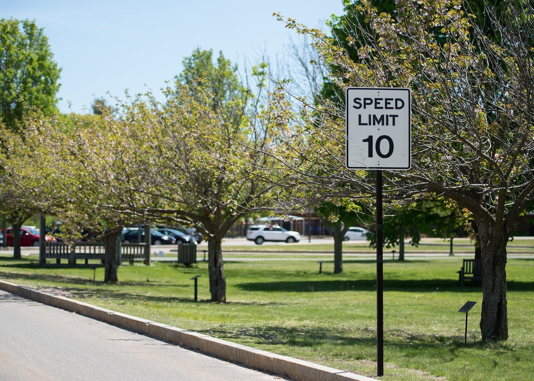 A speed limit sign is now located on Eglin Street to reflect the new speed limit from the Vandenberg Drive intersection to the CDC following a Hanscom Traffic Safety Board meeting earlier this month. (U.S. Air Force photo by Mark Herlihy)