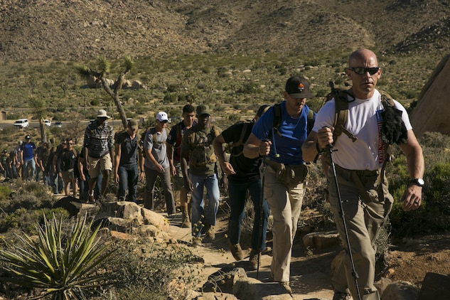 1st Sgt. Ryan Cantrell, Company B First Sergeant, Marine Corps Communication-Electronics School, leads the Marines on a hike in the Round Table Mentorship Program up Ryan Mountain in Joshua Tree National Park, Calif., May 12, 2017. Round Table is a mentorship program created by MCCES to break down walls between leadership and junior Marines by encouraging open dialogue and develop professional relationships across the ranks. (U.S. Marine Corps photo by Cpl. Dave Flores)