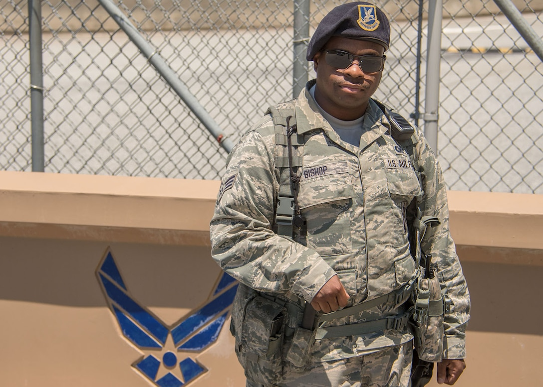 Senior Airman Christopher Bishop serves as a 94th Security Forces Squadron patrolman. He insists the camaraderie within the squadron is what keeps him going. (U.S. Air Force photo/Staff Sgt. Andrew Park)
