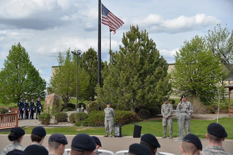 Senior Master Sgt. James Wilfong, 741st Missile Security Forces Squadron manager, speaks at a retreat ceremony during National Police Week May 15, 2017, at Malmstrom Air Force Base, Mont. During National Police Week, planned events pay special recognition to law enforcement officers who have lost their lives in the line of duty for the safety and protection of others. (U.S. Air Force photo/Airman 1st Class Daniel Brosam)