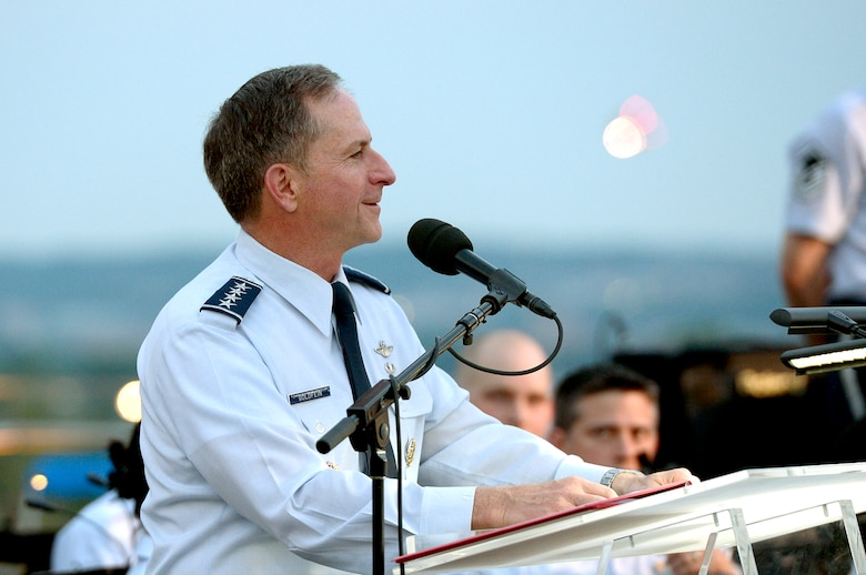 Air Force Chief of Staff Gen. David L. Goldfein talks about the history and the future of the Air Force during the Heritage to Horizons concert at the Air Force Memorial in Arlington, Va., May 17, 2017. (U.S. Air Force photo/Master Sgt. Bryan Franks)