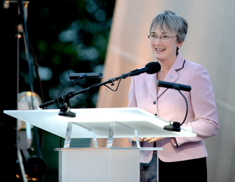 Secretary of the Air Force Heather Wilson talks about the history and the future of the Air Force during the Heritage to Horizons concert at the Air Force Memorial in Arlington, Va., May 17, 2017. (U.S. Air Force photo/Andy Morataya)