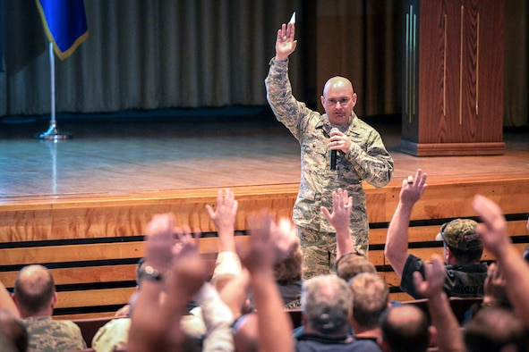 Col. David Dunklee, 75th Air Base Wing vice commander, asks for a show of hands from those who have attended Motorcycle Safety Foundation training. Dunklee provided opening remarks May 11 at the Hill Air Force Base during annual motorcycle safety briefings. (U.S. Air Force/Paul Holcomb)
