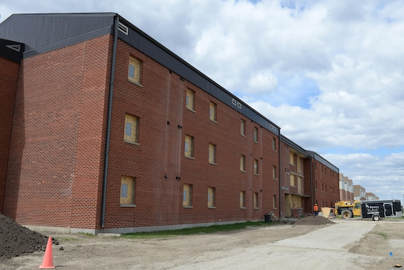 Dorm 276 is boarded up while it's in the process of being remodeled at Minot Air Force Base, N.D., May. 5, 2017. The Remodel is scheduled for complete in July, 2017.