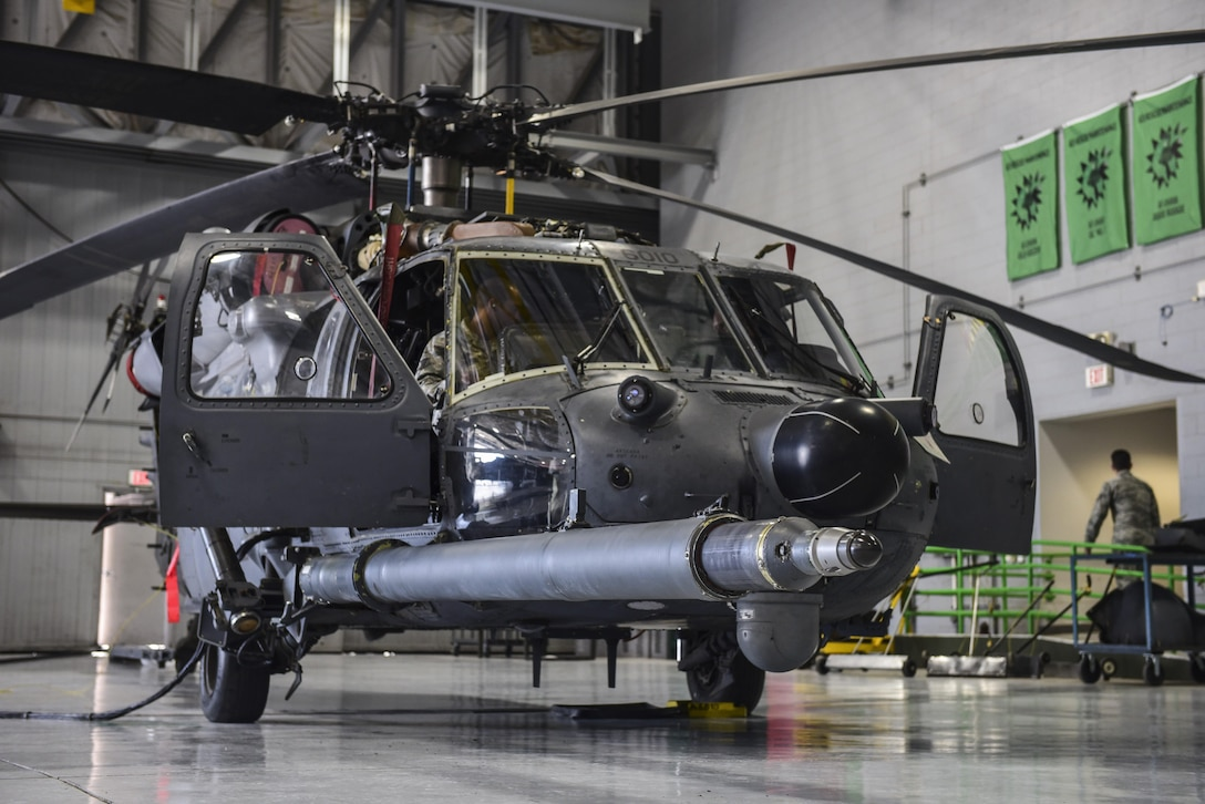 An Airman assigned to the 823rd Maintenance Squadron prepares to test a recently repaired fuel probe for an HH-60G Pave Hawk helicopter at Nellis Air Force Base, Nev., May 10, 2017. The Pave Hawk is the Air Force's premier personnel recovery helicopter and is heavily relied upon to conduct day and night operations in hostile environments. (U.S. Air Force photo by Airman 1st Class Andrew D. Sarver/Released)