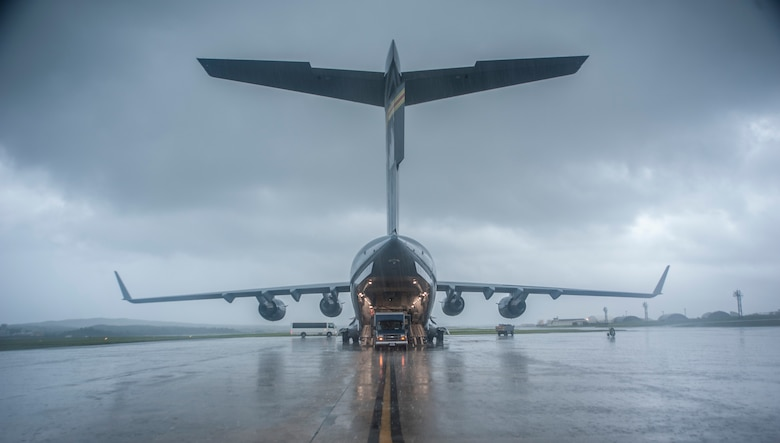 A U.S. Air Force Globemaster III sits on the flightline May 13, 2017, at Kadena Air Base, Japan. The 18th Aerospace Evacuation Squadron maintains responsibility over the largest area of operations in the military, reaching from the Horn of Africa to Alaska. (U.S. Air Force photo by Senior Airman Quay Drawdy)