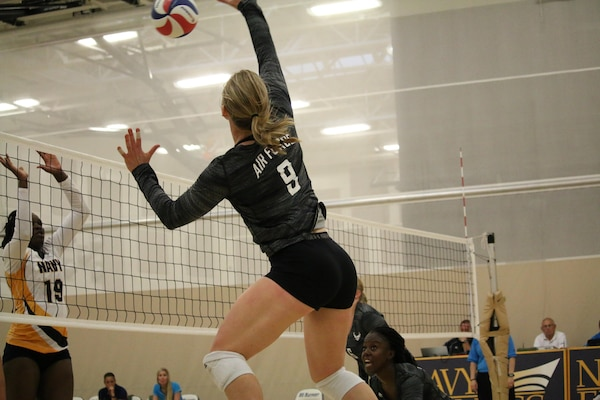 Air Force Capt. Kristina Stewart of Los Angeles, Calif. goes for the kill in Match 1 of the 2017 Armed Forces Women's Volleyball Championship at Naval Station Mayport, Florida on 18 May.