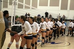 Navy wins match 1 over Air Force of the 2017 Armed Forces Women's Volleyball Championship at Naval Station Mayport, Florida on 18 May.