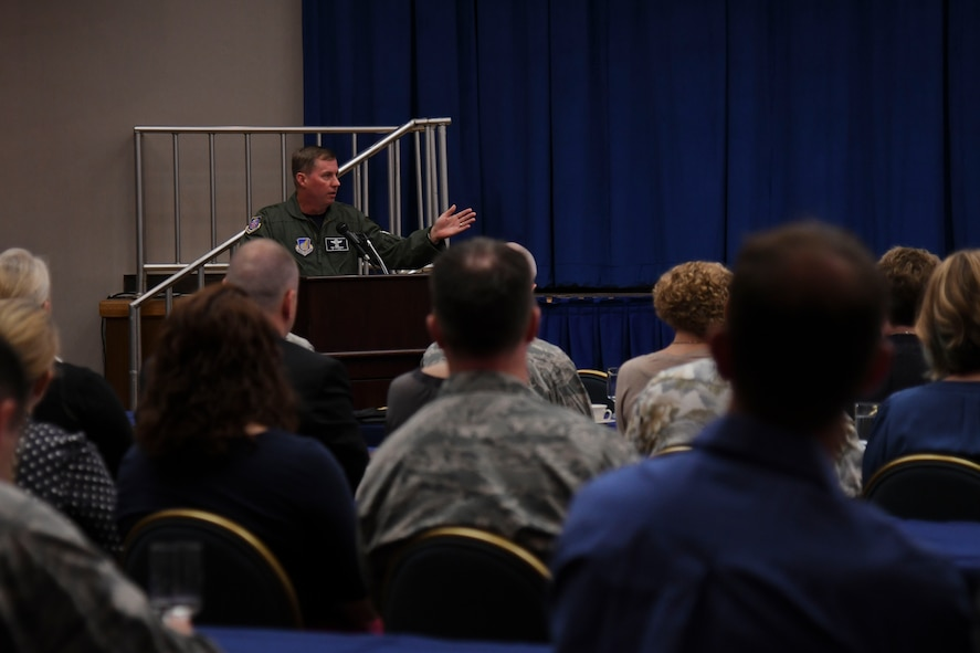U.S. Air Force Lt. General Thomas Bergeson, 7th Air Force commander, speaks during the 7th AF Commanders Conference at Osan Air Base, Republic of Korea, May 19, 2017. During the conference 7th AF senior leaders were able to discuss objectives and current events on the Korean peninsula. (U.S. Air Force photo by Airman Gwendalyn Smith)