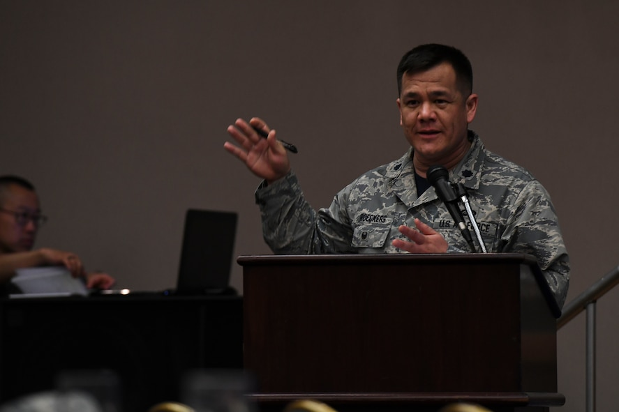 U.S. Air Force Lt. Col. Robert Roeckers, 7th Air Force director of manpower personnel and services, discusses taking care of Airmen and families during the 7th AF Commanders Conference at Osan Air Base, Republic of Korea, May 19, 2017. The forum allowed senior leaders and their spouses to ask questions and give feedback on the four pillars of comprehensive airmen fitness. (U.S. Air Force photo by Airman Gwendalyn Smith)