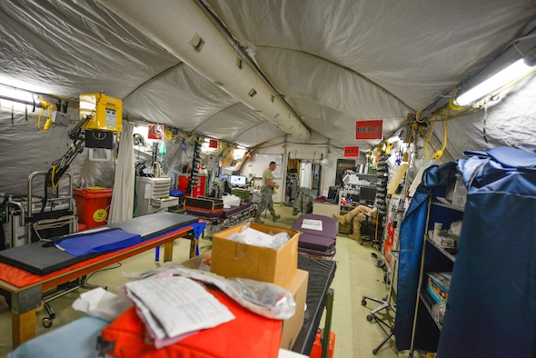 The 332nd Expeditionary Medical Group's Expeditionary Medical Support System tent in its current configuration May 10, 2017, in Southwest Asia. The medical staff will transfer from the mobile tent unit to a new permanent clinic facility, marking the last EMEDS tent to close in the Air Force Central Command region. (U.S. Air Force photo by Staff Sgt. Alexander W. Riedel)