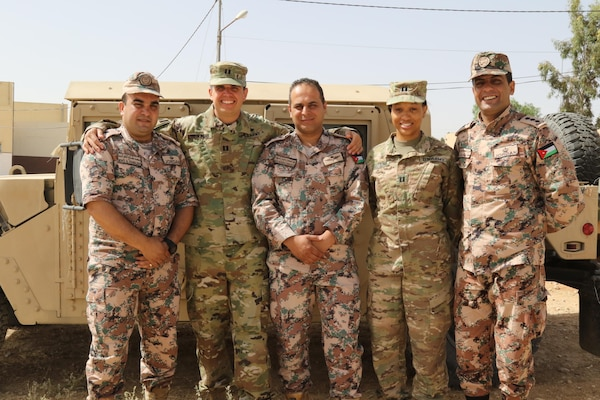 Jordanian and U.S. Army Central Soldiers stand in front of a Humvee, May 15, during exercise Eager Lion at the Joint Training Center in Jordan. Eager Lion 2017 is an annual U.S. Central Command exercise in Jordan designed to strengthen military-to-military relationships between the U.S., Jordan and other international partners. This year's iteration is comprised of about 7,200 military personnel from more than 20 nations that will respond to scenarios involving border security, command and control, cyber defense and battlespace management.