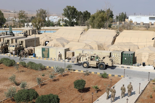 The USARCENT contingent command post tactical operations center for Exercise Eager Lion was built to standard in less than 60 hours at the Joint Training Center in Jordan.