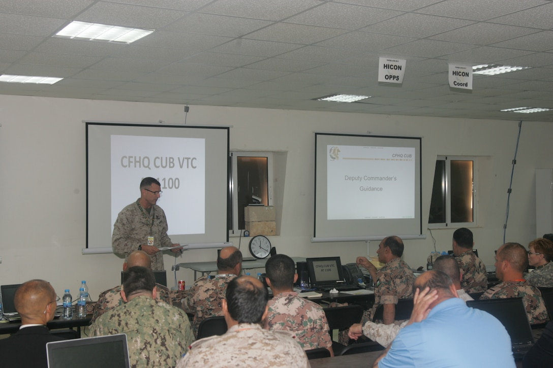 U.S. Marine Brig. Gen. Frank Donovan, 5th Marine Expeditionary Brigade commander, discusses expectations for Eager Lion, May 7, at the Joint Training Center in Jordan. Eager Lion is an annual U.S. Central Command exercise in Jordan designed to strengthen military-to-military relationships between the U.S., Jordan and other international partners. This year's iteration is comprised of about 7,200 military personnel from more than 20 nations that will respond to scenarios involving border security, command and control, cyber defense and battlespace management.  (Photo by Moath Aleen, Jordanian Army).