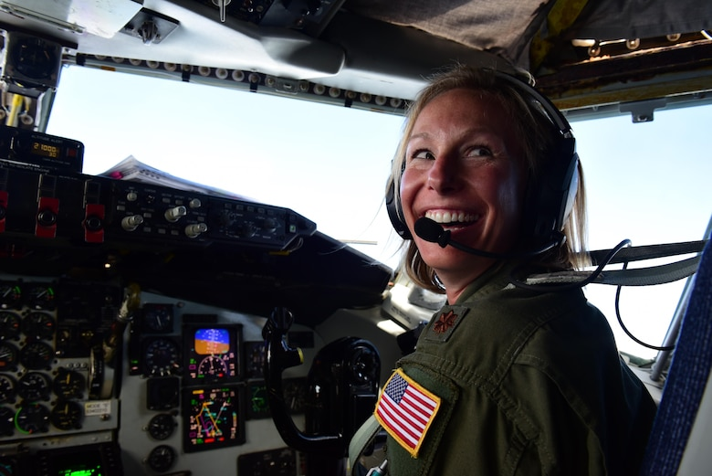 Maj. Amanda Person, 7th Air Refueling Squadron, KC-135R Stratotanker pilot, flies local civic leaders including North Carolina Lt. Governor Dan Forest, May 18, 2017, in the skies over Seymour Johnson Air Force Base, North Carolina. Seymour Johnson AFB will host Wings Over Wayne Air Show, May 20-21, 2017. (U.S. Air Force photo by Airman 1st Class Kenneth Boyton)