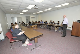 Roy Rossignol, U.S. Army Corps of Engineers Nashville District Small Business chief, briefs high school and college students about STEM path and careers with the Corps of Engineers at the Cumberland River Operations Center at Old Hickory, Tenn., May 4, 2017.