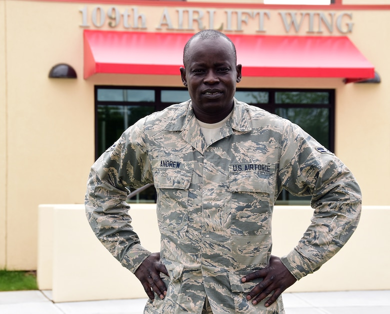 Airman 1st Class Frances Andrew is assigned to the 109th Airlift Wing's Command Support Staff here. Andrew first arrived in the United States in 2001 at the age of 21. He grew up in a refugee camp from the age of 7 and is known as one of the Lost Boys of Sudan. (U.S. Air National Guard photo by Senior Master Sgt. William Gizara/Released)
