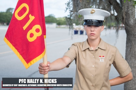 Private First Class Haley N. Hicks graduated Marine Corps recruit training May 19, 2017, aboard Marine Corps Recruit Depot Parris Island, South Carolina. Hicks is the Honor Graduate of platoon 4018. Hicks was recruited by Staff Sgt. Jonathan B. Betschart from Recruiting Substation North Charleston. (U.S. Marine Corps photo by Lance Cpl. Jack A. E. Rigsby/Released)