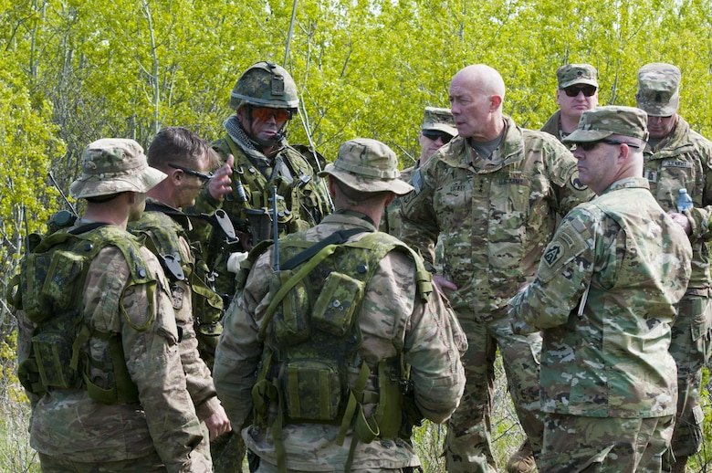 Lt. Gen. Charles Luckey, chief of Army Reserve and commanding general of United States Army Reserve Command, visits Soldiers with C Troop, 2nd Brigade, 10th Mountain Division, and Canadian Soldiers with the 3rd Royal Canadian Regiment on May 18, 2017, in Camp Wainwright, Alberta, Canada, during Maple Resolve 17. More than 650 U.S. Army Soldiers are supporting Maple Resolve 17, the Canadian Army's premiere brigade-level validation exercise running May 14-29 at Camp Wainwright. As part of the exercise, the U.S. Army is providing a wide array of combat and support elements. These include sustainment, psychological operations, public affairs, aviation and medical units. (U.S. Army Reserve photo by Staff Sgt. Michael Crawford)
