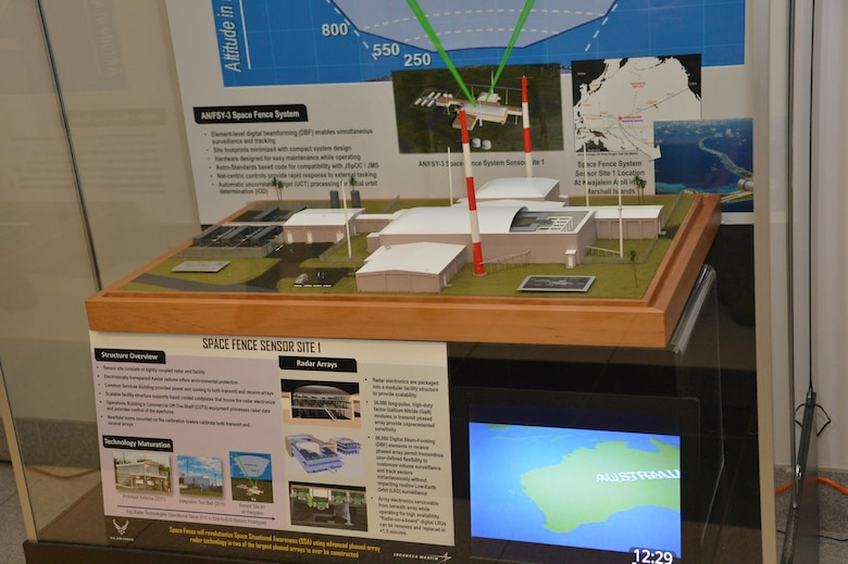A small-scale representational model of the Space Fence System was donated by Lockheed Martin to the Space and Missile Systems Center's Heritage Center. The display will be maintained by the SMC History Office to inspire and educate students in the surrounding South Bay beach cities and local school communities. The Space Fence is a sophisticated system of S-band ground-based radar sensors that will dramatically improve the way the U.S. Air Force identifies and tracks objects in Earth orbit. (U.S. Air Force photo/Van De Ha)