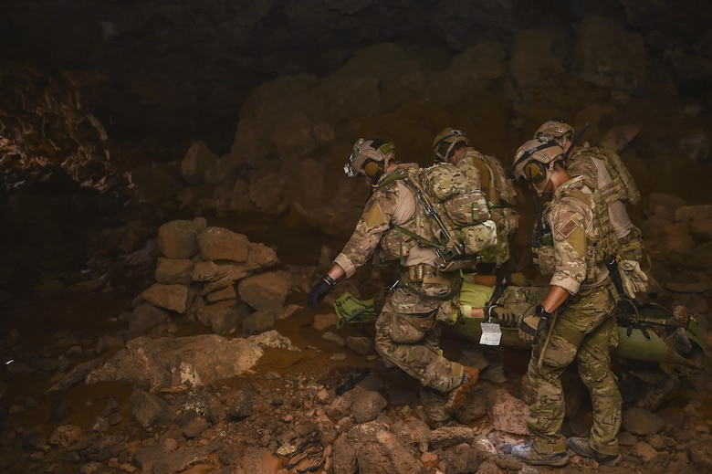 Air Force Special Tactics Airmen with the 24th Special Operations Wing and Italian special operations forces carry a simulated casualty through the Al Biadia Cave Complex during a personnel rescue mission for Eager Lion, May 13, 2017, in Mafraq Province, Jordan. Eager Lion 2017, an annual U.S. Central Command exercise in Jordan designed to strengthen military-to-military relationships between the U.S., Jordan and other international partners. This year's iteration is comprised of about 7,200 military personnel from more than 20 nations that will respond to scenarios involving border security, command and control, cyber defense and battlespace management. (U.S. Air Force photo by Senior Airman Ryan Conroy)