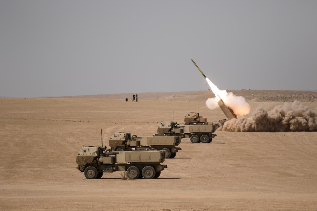 Alpha Battery 5-3 Field Artillery from Joint Base Lewis-McChord, Washington along with 29th Royal HIMARS Battalion conducted a High Mobility Artillery Rocket System (HIMARS) live fire exercise, outside Amman, Jordan, May 14, 2017. Eager Lion is an annual U.S. Central Command exercise in Jordan designed to strengthen military-to-military relationships between the U.S., Jordan and other international partners. This year's iteration is comprised of about 7,200 military personnel from more than 20 nations that will respond to scenarios involving border security, command and control, cyber defense and battlespace management. (U.S. Army photo by Sgt 1st Class Steven Queen)