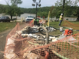 As part of the remediation, the contractor has placed sandbag rings, barriers and cones around the release sites.