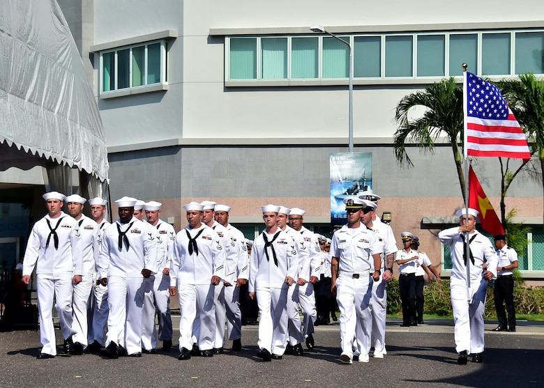 Sailors assigned to the Arleigh Burke-class guided missile destroyer USS Sterett (DDG 104) march in formation at the international honor guard delegation during the International Maritime Review and 50th anniversary of the Republic of Singapore Navy at RSS Singapura-Changi Naval Base, May 15, 2017. The International Maritime Defense Exhibition 2017 is hosted by the Republic of Singapore and is one of the largest maritime exhibitions in the Asia Pacific and features a trade show and a series of multilateral exercises and exchanges.