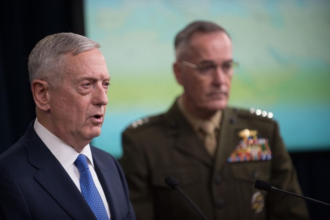 Defense Secretary Jim Mattis speaks during a news conference with Marine Corps Gen. Joe Dunford, chairman of the Joint Chiefs of Staff, at the Pentagon, May 19, 2017. Mattis and Dunford updated reporters on the fight against the Islamic State of Iraq and Syria. DoD photo by Army Sgt. Amber I. Smith