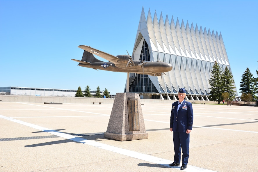 Brig. Gen. Kristin Goodwin stands near the overlook in front of the cadet wing she commands at the U.S. Air Force Academy as the Commandant of Cadets. (U.S. Air Force photo)