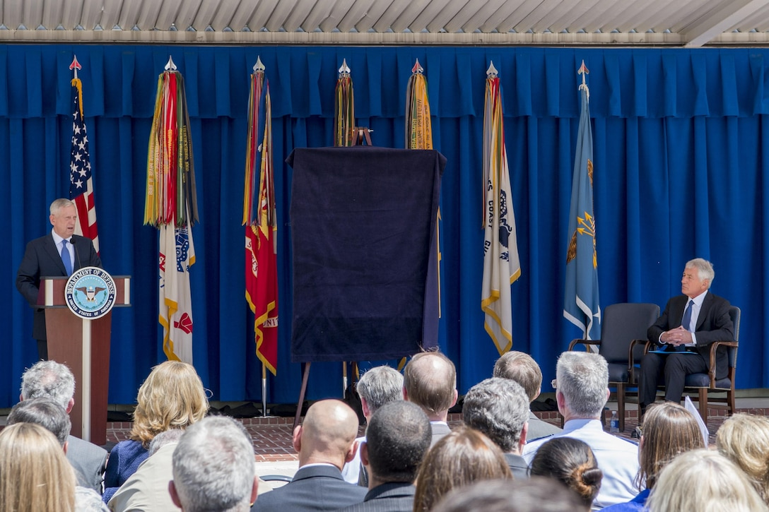 Defense Secretary Jim Mattis speaks at the unveiling ceremony for former Defense Secretary Chuck Hagel's official Pentagon portrait in Washington, May 19, 2017. Hagel served as the 24th Secretary of Defense from February 2013 to February 2015. DoD photo by Air Force Tech. Sgt. Brigitte N. Brantley
