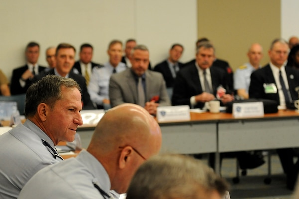 Air Force Chief of Staff Gen. David L. Goldfein discusses the national pilot sourcing with airline executives at the National Pilot Sourcing Meeting in Alexandria, Va., May 18, 2017. The meeting was held to discuss opportunities to improve collaboration between airlines and the military to ensure high-quality pilots for the need of the nation. (U.S. Air Force photo/Staff Sgt. Jannelle McRae)