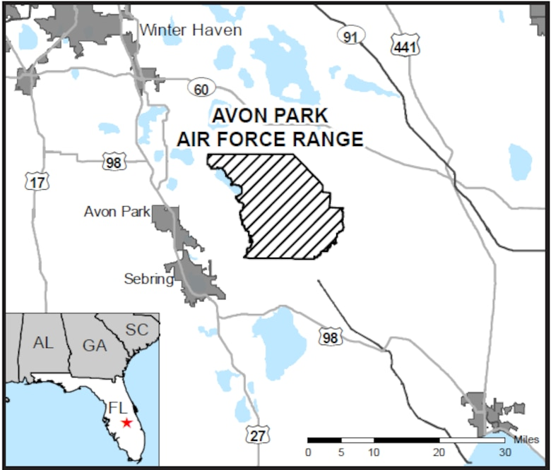 Map of Avon Park Air Force Range, Florida. An Air Force Wildland Fire Center team, supported by teams from the Florida Forest Service and the U.S. Fish and Wildlife Service, is working to contain an 8,000-acre wildfire on the range. The AFWFC is part of the Air Force Civil Engineer Center's Environmental Directorate at Joint Base San Antonio-Lackland, Texas. (Florida Forest Service photo)