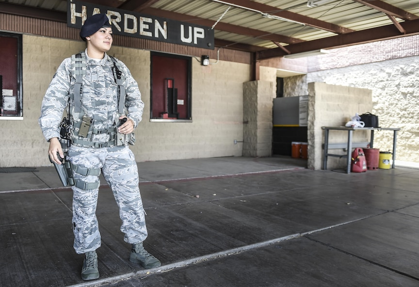 Senior Airman Alexandra Haytasingh, 49th Security Forces Squadron, finishes her shift during National Police Week at Holloman Air Force Base, N.M. on May 15, 2017. National Police Week was established in 1962 by President John F. Kennedy to pay tribute to law enforcement officers who lost their lives in the line of duty for the safety and protection of others, according to the National Peace Officer's Memorial Fund website. Ceremonies are held annually in Washington D.C., as well as in communities across the nation. (U.S. Air Force photo by Staff Sgt. Stacy Jonsgaard)
