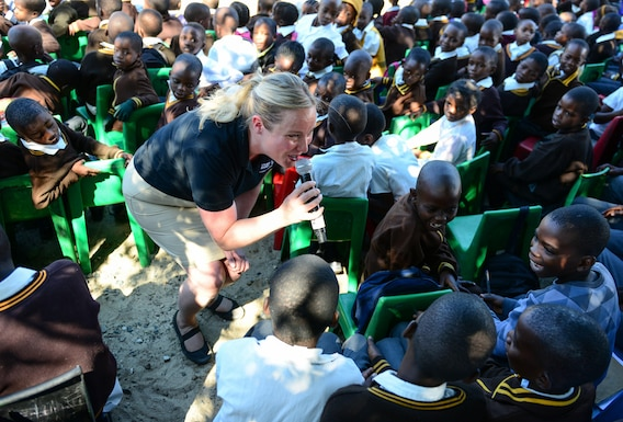 "Staff Sgt. Jill Diem, U.S. Air Forces in Europe Band vocalist, sings for students of the Kachikau Primary School in Kachikau, Botswana on May 17, 2017. The USAFE ""Ambassadors Combo"" performance Band partnered with the Botswana Defence Force Band while supporting the 2017 African Air Chiefs Symposium and performed for over five hundred students. The U.S. and Botswana have a strong relationship, and the U.S. military has a long and productive history of working with the Botswana Defence Force.  U.S. Air Force photo by Staff Sgt. Krystal Ardrey)"