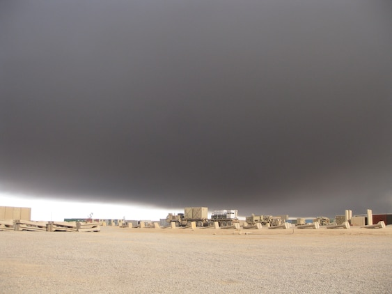 Sulphur dioxide from a fire at the Al-Mishraq sulfur plant travels over Qayyarah Airfield West, Iraq, Oct. 25, 2016. Marines with an Advise and Assist Team with the Special Purpose Marine Air-Ground Task Force-Crisis Response-Central Command were deployed to the area when the fire was burning. The Marines of the A&A Team were able to overcome these conditions and continue operating due to their CBRN training. U.S. Marines receive this training throughout their careers and before deploying in order to effectively respond to an attack and continue accomplishing the mission.