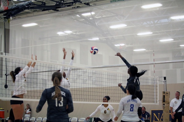Air Force 2nd lt. Felicia Clement (#1) goes for the kill in Match 4 of the 2017 Armed Forces Women's Volleyball Championship at Naval Station Mayport, Florida on 18 May.