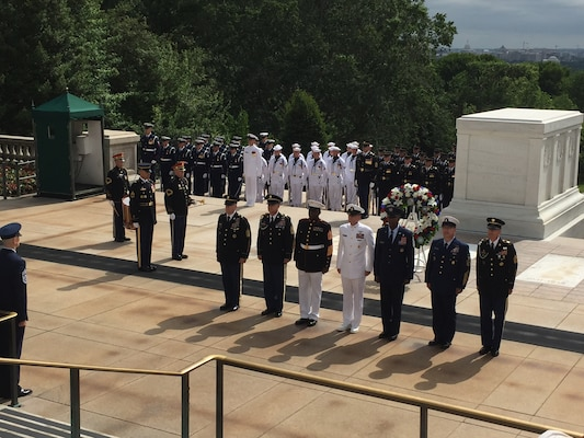 Senior enlisted leaders place a wreath at the Tomb of the Unknowns at Arlington National Cemetery, Va., May 20, 2017, in honor of Armed Forces Day. DoD photo by Jim Garamone