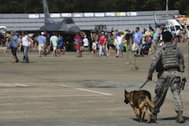 A 4th Security Forces military working dog team patrol the grounds of the Wings Over Wayne Air Show, May 20, 2017, at Seymour Johnson Air Force Base, North Carolina. The MWDs also performed several demonstrations throughout the day to showcase their elite capabilities. (U.S. Air Force photo by Staff Sgt. Brittain Crolley)