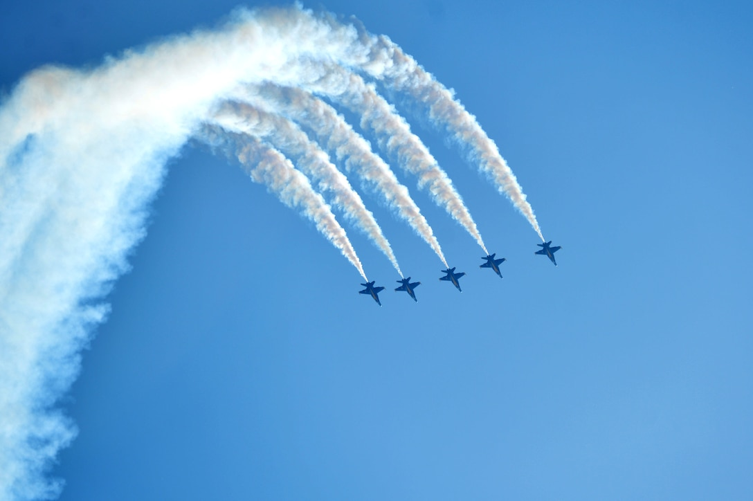 The U.S. Navy Blue Angels perform in the skies over Seymour Johnson Air Force Base, North Carolina, May 20, 2017, during the Wings Over Wayne Air Show. The Blue Angels are the Navy's premiere aerial demonstration team, led by Commander Ryan J. Bernacchi, the #1 aircraft pilot, flight leader and commanding officer of the 2017 team. (U.S. Air Force photo by Airman 1st Class Christopher Maldonado)