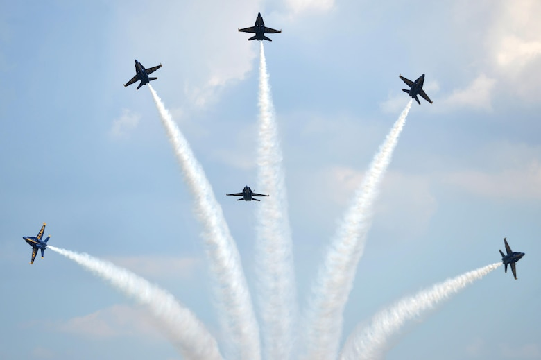 The U.S. Navy Blue Angels fly in formation during the Wings Over Wayne Air Show, May 20, 2017, at Seymour Johnson Air Force Base, North Carolina. Seymour Johnson AFB hosted the free, two-day air show as a way to thank the public and local community for their ongoing support of the base's missions. (U.S. Air Force photo by Airman 1st Class Christopher Maldonado)