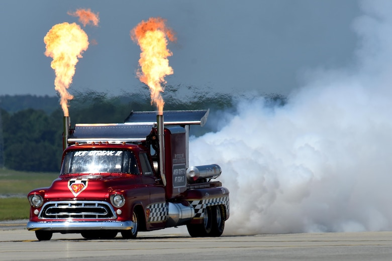 The Smoke-N-Thunder jet truck participated in the Wings Over Wayne Air Show, May 20, 2017, at Seymour Johnson Air Force Base, North Carolina. The Hot Streak II is a twin-jet engine 1957 Chevrolet pickup, capable of reaching speeds exceeding 350 miles per hour. (U.S. Air Force photo by Airman 1st Class Miranda A. Loera)