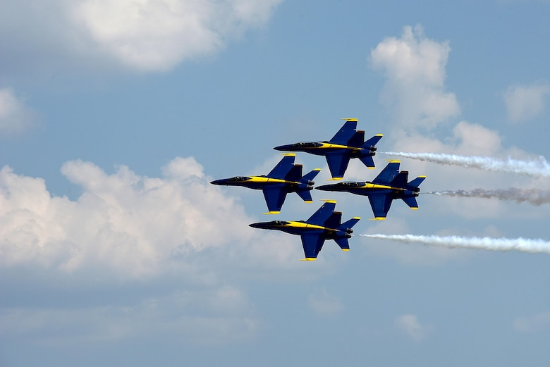 The U.S. Navy Blue Angels fly in formation during the Wings Over Wayne Air Show, May 20, 2017, at Seymour Johnson Air Force Base, North Carolina. Seymour Johnson AFB hosted the free, two-day air show as a way to thank the public and local community for their ongoing support of the base's missions. (U.S. Air Force photo by Airman 1st Class Kenneth Boyton)