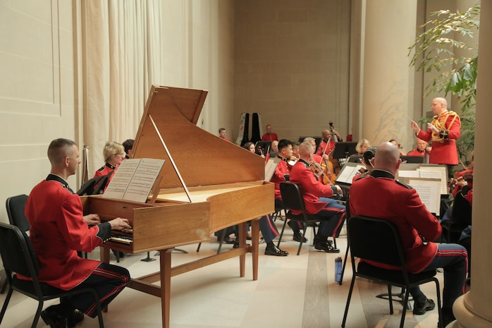 "On May 21, 2017, the Marine Chamber Orchestra performed a concert at the National Gallery of Art in Washington, D.C. to open the exhibit titled ""America Collects Eighteenth-Century French Painting."" (U.S. Marine Corps photo by Master Sgt. Amanda Simmons/released)"