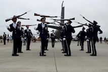 Members of the U.S. Air Force Honor Guard perform at the Wings Over Wayne Air Show, May 21, 2017, at Seymour Johnson Air Force Base, North Carolina. Seymour Johnson AFB hosted the free, two-day air show as a way to thank the public and local community for their ongoing support of the base's missions. (U.S. Air Force photo by Airman 1st Class Victoria Boyton)