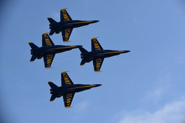 The U.S. Navy Blue Angels fly in formation during the Wings Over Wayne Air Show, May 21, 2017, at Seymour Johnson Air Force Base, North Carolina. Seymour Johnson AFB hosted the free, two-day air show as a way to thank the public and local community for their ongoing support of the base's missions. (U.S. Air Force photo by Airman 1st Class Kenneth Boyton)