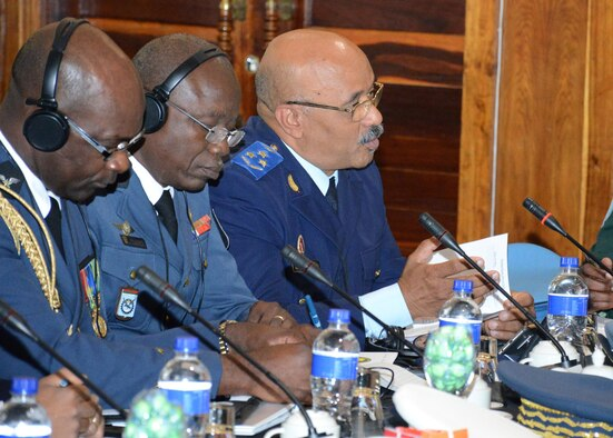 An air chief briefs during the 2017 African Air Chiefs Symposium in Kasane, Botswana, May 16, 2017. This is the seventh iteration and largest event to date. During the symposium, air chiefs participated in several round-table discussions focused on the training aspect of force development. (Courtesy photo by Botswana Defence Force Cpl. Kgomotso Mobiakgotla)