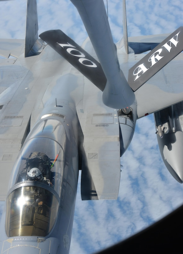 An F-15 Eagle from RAF Lakenheath, England, receives fuel from a KC-135 Stratotanker May 19, 2017. The KC-135 is assigned to RAF Mildenhall, England. Both aircraft are on their way to support Arctic Challenge 2017, a multinational exercise encompassing 11 nations and more than 100 aircraft. (U.S. Air Force photo by Tech. Sgt. David Dobrydney)