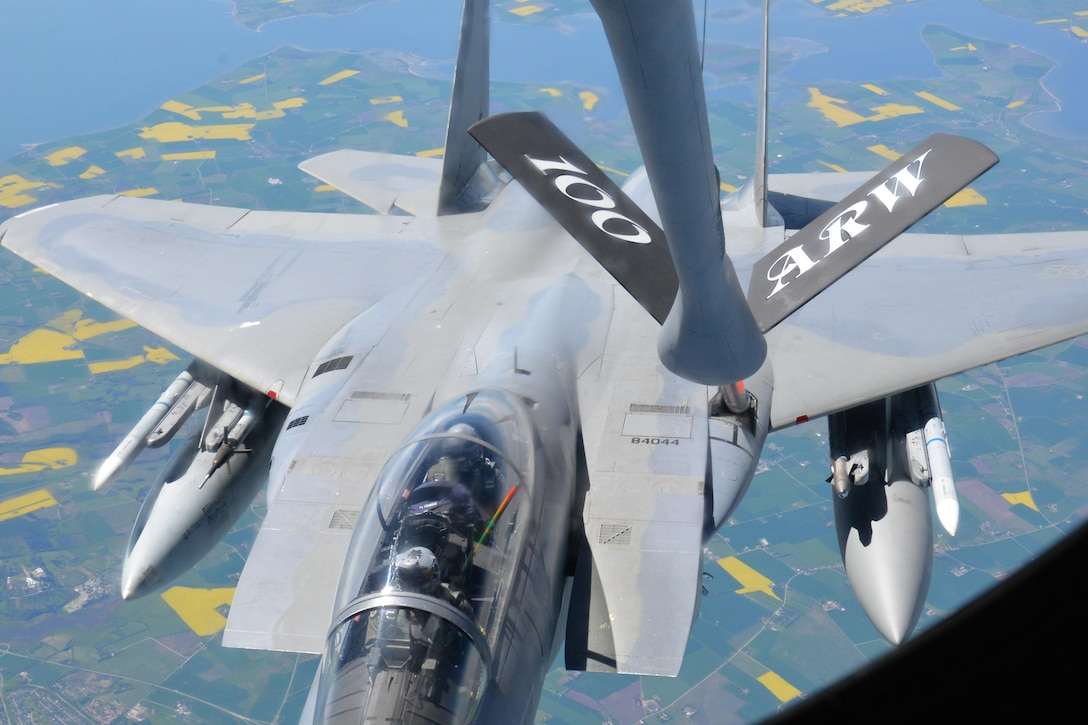 An F-15E Strike Eagle from RAF Lakenheath, England, receives fuel from a KC-135 Stratotanker May 19, 2017. The KC-135 is assigned to RAF Mildenhall, England. Both aircraft are on their way to support Arctic Challenge 2017, a multinational exercise encompassing 11 nations and more than 100 aircraft. (U.S. Air Force photo by Tech. Sgt. David Dobrydney)